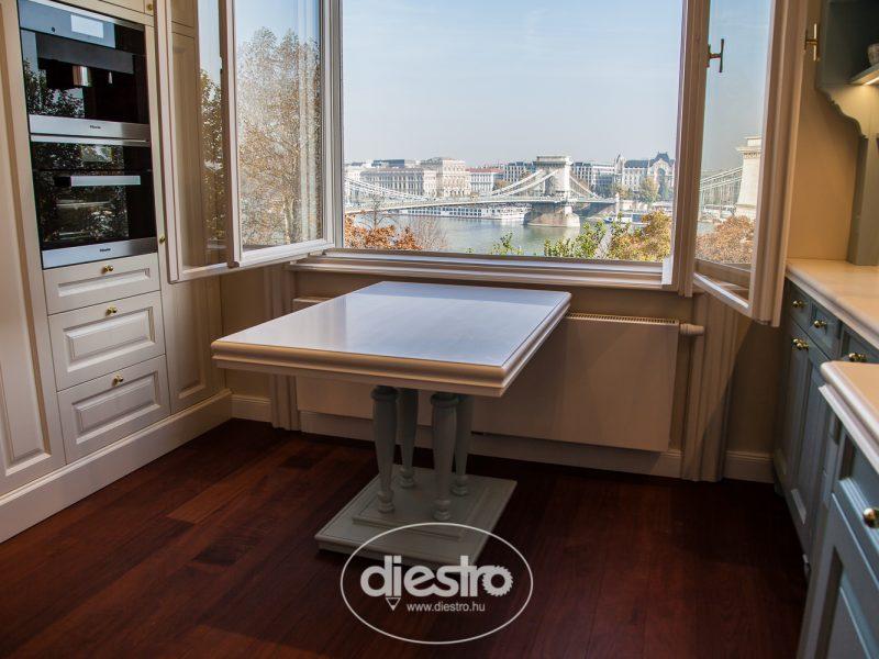 Festett klasszikus konyha Akril reggeliző asztallal
